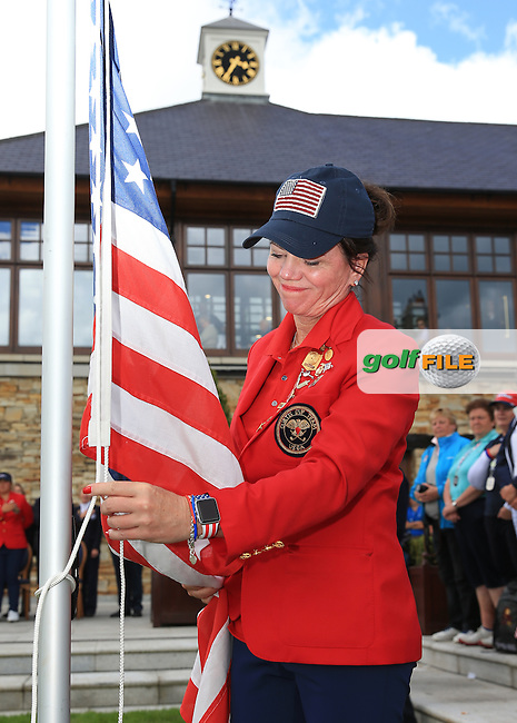 Team USA Captain Robin Burke ropes down the USA flag during the Closing Ceremony at the 2016 Curtis Cup, played at Dun Laoghaire GC, Enniskerry, Co Wicklow, Ireland. 12/06/2016. Picture: David Lloyd | Golffile. <br /> <br /> All photo usage must display a mandatory copyright credit to &copy; Golffile | David Lloyd.