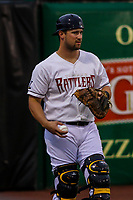 Milwaukee Brewers catcher Andrew Susac (9) during a rehab appearance with the Wisconsin Timber Rattlers in a Midwest League game against the Beloit Snappers on August 30, 2017 at Fox Cities Stadium in Appleton, Wisconsin. Wisconsin defeated Beloit 4-0. (Brad Krause/Four Seam Images)
