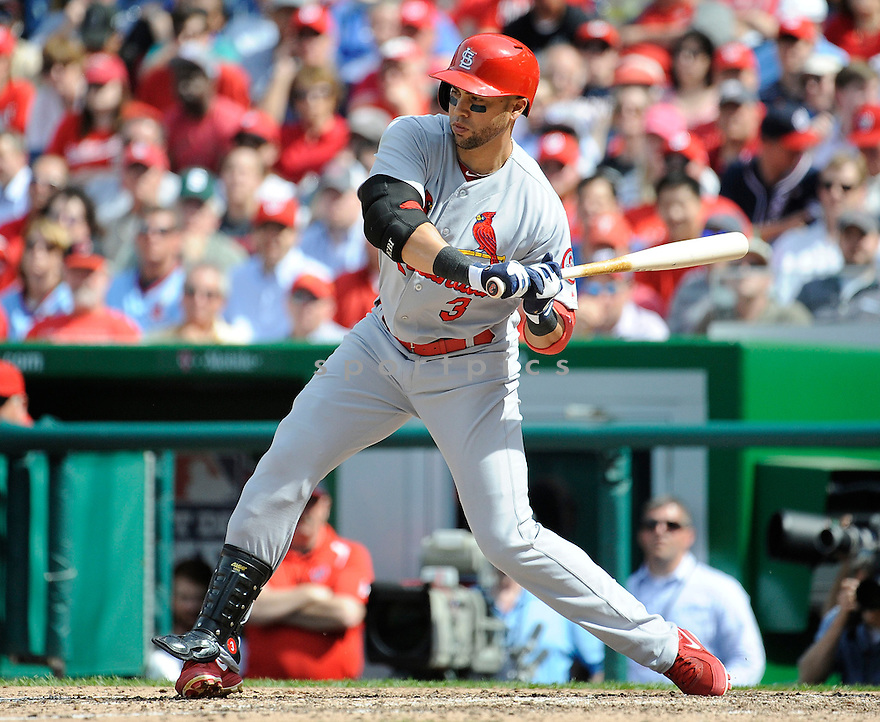 St. Louis Cardinals Carlos Beltran (3) during a game against the Washington Nationals on April 24, 2013 at Nationals Park in Washington DC. The Cardinals beat the Nationals 4-2.