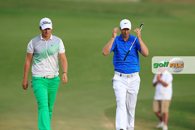 Bernd Wiesberger (AUT) and Ross Fisher (ENG) walk onto the 18th green during Sunday's Final Round of the Portugal Masters at the Oceanico Victoria Golf Course, Vilamoura, Portugal 14th October 2012 (Photo Eoin Clarke/www.golffile.ie)
