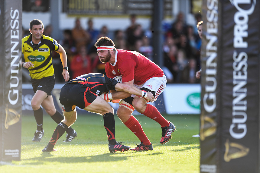 Jean Kleyn of Munster is tackled by Sarel Pretorius of Dragons<br /> <br /> Photographer Craig Thomas/CameraSport<br /> <br /> Guinness PRO12 Round 3 - Newport Gwent Dragons v Munster Rugby - Saturday 17 September 2016 - Rodney Parade - Newport<br /> <br /> World Copyright &copy; 2016 CameraSport. All rights reserved. 43 Linden Ave. Countesthorpe. Leicester. England. LE8 5PG - Tel: +44 (0) 116 277 4147 - admin@camerasport.com - www.camerasport.com
