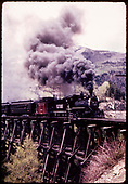 RGS #20 with caboose #0403 and coach (excursion train) crossing trestle possibly Butterfly.<br /> RGS