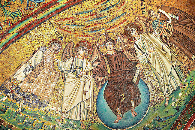 Byzantine Roman mosaics of the Basilica of San Vitale in Ravenna, Italy. Mosaic decoration paid for by Emperor Justinian I in 547. A UNESCO World Heritage Site