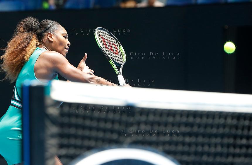 15th January 2019, Melbourne Park, Melbourne, Australia; Australian Open Tennis, day 2; Serena Williams of USA returns the ball against Tatjana Maria of Germany