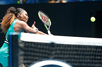15th January 2019, Melbourne Park, Melbourne, Australia; Australian Open Tennis, day 2; Serena Williams of USA returns the ball against Tatjana Maria of Germany