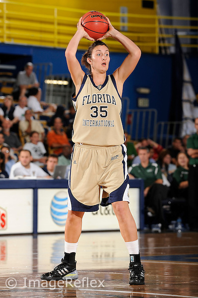 14 November 2008:  FIU center Maya Krajacic (35) passes the ball in the second half of the Wisconsin-Green Bay 68-45 victory over FIU at FIU Arena in Miami, Florida.