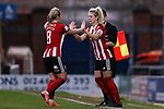 Maddy Cusack is replaced by Mollie Green of Sheffield United during the The FA Women's Championship match at the Proact Stadium, Chesterfield. Picture date: 12th January 2020. Picture credit should read: James Wilson/Sportimage