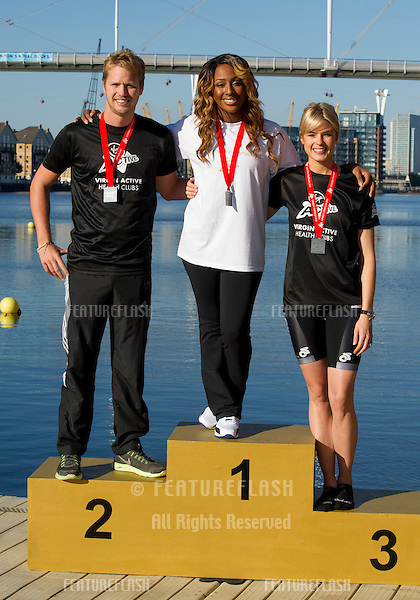 Sam Branson, Alex Burke and Isabella Calthorpe at the The Virgin Triathlon 2012, Excel Arena,  Docklands, London. 22/09/2012 Picture by: Simon Burchell / Featureflash.