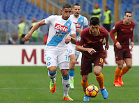 Roma&rsquo;s Diego Perotti, right,is challenged by Napoli&rsquo;s Faouzi Ghoulam during the Italian Serie A football match between Roma and Napoli at Rome's Olympic stadium, 4 March 2017. <br /> UPDATE IMAGES PRESS/Riccardo De Luca