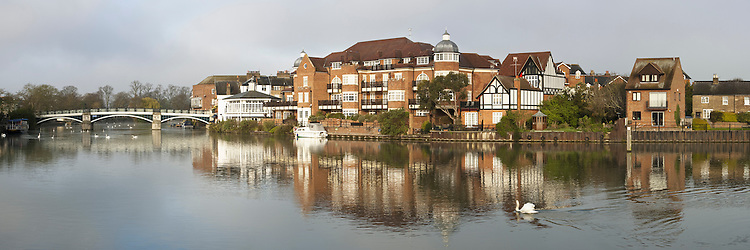 View of Eton Bridge and Eton from the Windsor bank of the River Thames, Berkshire, Uk