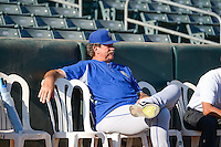 Las Vegas 51s pitching coach Frank Viola (16) sits in the bullpen before the game against the Salt Lake Bees in Pacific Coast League action at Smith's Ballpark on June 25, 2015 in Salt Lake City, Utah. Las Vegas defeated Salt Lake 20-8.  (Stephen Smith/Four Seam Images)