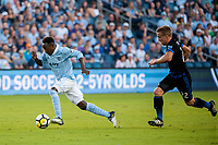 Kansas City, KS - Wednesday August 9, 2017: Gerso Fernandes, Tommy Thompson during a Lamar Hunt U.S. Open Cup Semifinal match between Sporting Kansas City and the San Jose Earthquakes at Children's Mercy Park.
