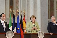 Roma, 22 Giugno 2012.Villa Madama.Vertice quadrilaterale su Eurozona con i leader di Italia, Francia, Germania e Spagna.Nella foto, Mario Monti , Angela Merkel e Francois Hollande