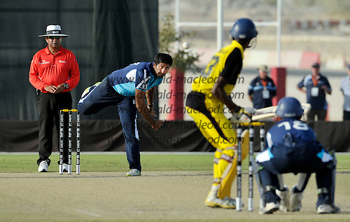 T20 World Cup Qualifying match - Scotland V Uganda at the ICC Global Cricket Academy - Dubai - plaudits for spinner Majid Haq who had a good performance with figures of 4 overs for 3 wickets and 18 runs - Scotland won by 34 runs - Picture by Donald MacLeod  15.3.12  07702 319 738  clanmacleod@btinternet.com