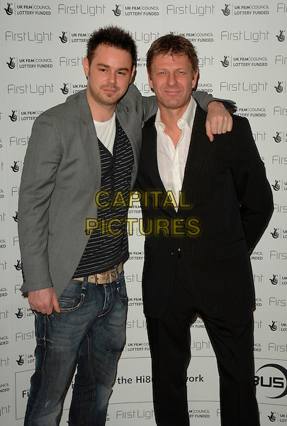 DANNY DYER & SEAN BEAN.The First Light Film Awards, Odeaon West End, London, UK..February 27th, 2007.half length black suit jacket grey gray jeans denim arm over shoulder.CAP/CAN.©Can Nguyen/Capital Pictures