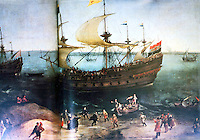 Ships:  1000 Ton Dutch Privateer HOLLANOT SCHEN TUYN, 1605.  On Zuider Zee after raid on Spanish Main.