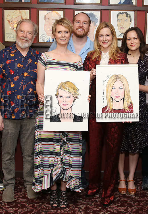 Michael McKean, Cynthia Nixon, Laura Linney, Francesca Carpanini attend the portrait unveilings of Laura Linney and Cynthia Nixon starring on Broadway in the Manhattan Theatre Club's THE LITTLE FOXES, at Sardi's on June 29, 2017 in New York City.