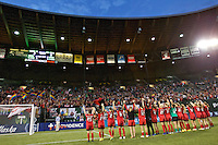 Portland, Oregon - Wednesday June 22, 2016: The Thorns salute the crowd during a regular season National Women's Soccer League (NWSL) match at Providence Park.