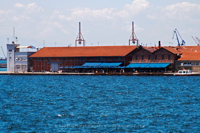 Restaurant on the harbour waterfront. Thessaloniki, Macedonia, Greece