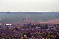 The village of Chablis with Montmains and Vaillons vineyards on the far side (premiers Crus - first growths)