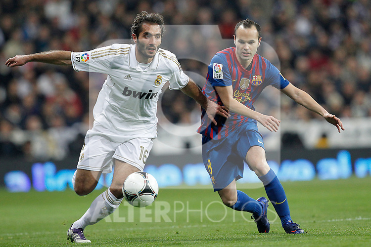 Real Madrid's Hamit Altintop and FC Barcelona's Andres Iniesta  during spanish King's Cup on January 18th 2012...Photo: Cesar Cebolla / ALFAQUI