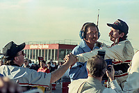 Dale Earnhardt is congratulated by car owner Richard Childress after winning his 4th Winston Cup championship, Atlanta Journal 500, Atlanta Motor Speedway, Hampton, GA, November 18, 1990. (Photo by Brian Cleary/bcpix.com)