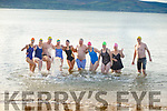 Mary Fitzsimons, Mags O'Sullivan, Kevin Williams, Helena Shanahan, Sharon Costello, Dave O'Connor, Rachel Fitzgerald, Niamh O'Callaghan, Coleen Shields and Richard Ryan in the water in Fenit  taking part in their 12 days of Christmas swim on Saturday.