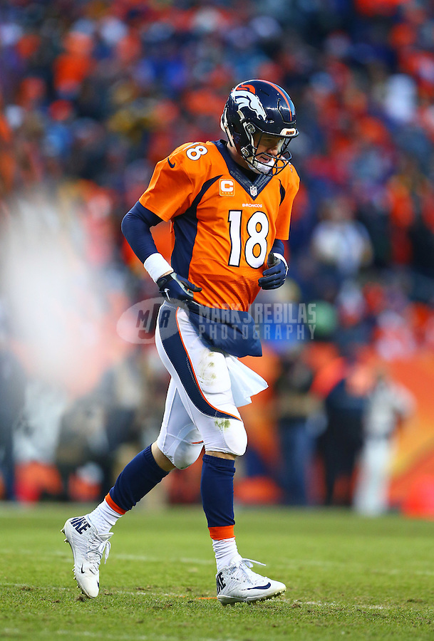 Jan 17, 2016; Denver, CO, USA; Denver Broncos quarterback Peyton Manning (18) against the Pittsburgh Steelers during the AFC Divisional round playoff game at Sports Authority Field at Mile High. Mandatory Credit: Mark J. Rebilas-USA TODAY Sports