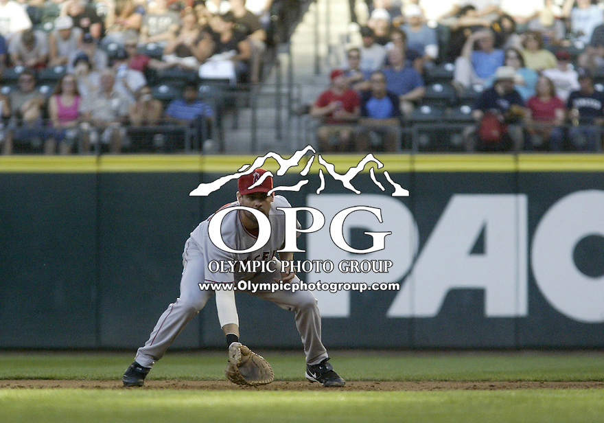01 August 2007:    Casey Kotchman gets set up at first base at Safeco Field against the Seattle Mariners. Seattle won 8-7 in 12 innings.