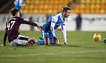 St Johnstone v Hearts&hellip;23.12.17&hellip;  McDiarmid Park&hellip;  SPFL<br />Harry Cochrane brings down Chris Millar for his first yellow card<br />Picture by Graeme Hart. <br />Copyright Perthshire Picture Agency<br />Tel: 01738 623350  Mobile: 07990 594431