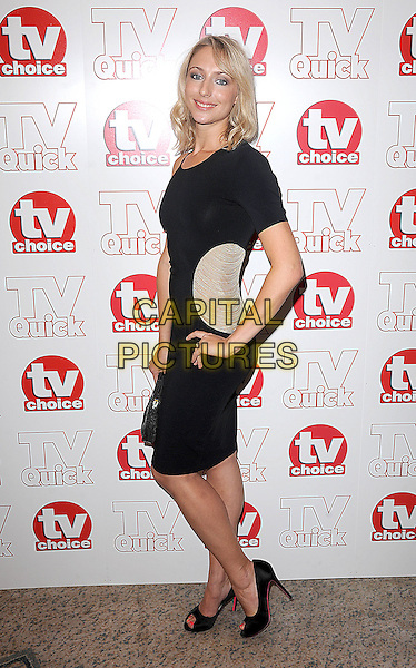ALI BASTIAN.The TV Quick & TV Choice Awards, Dorchester Hotel, London, England. .September 7th, 2009 .full length black dress dress gold beige patch cut out side peep toe shoes clutch bag hand on hip heels .CAP/BEL.©Tom Belcher/Capital Pictures.