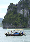 Halong-Vietnam, Ha Long - Viet Nam - 22 July 2005---Fishermen working on their boat (small-scale) at Halong Bay, a UNESCO World Natural Heritage Site---fishery, nature, economy, labour---Photo: Horst Wagner/eup-images