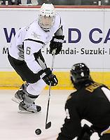 San Antonio Rampage's Jason DeSantis looks to pass during the second period of an AHL hockey game against the Texas Stars, Saturday, Oct. 13, 2012, in San Antonio. Texas won 2-1. (Darren Abate/pressphotointl.com)