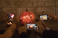Decorated pumpkins are seen on display at the Halloween Pumpkin Festival held on Heroes square in downtown Budapest, Hungary on Oct. 27, 2018. ATTILA VOLGYI