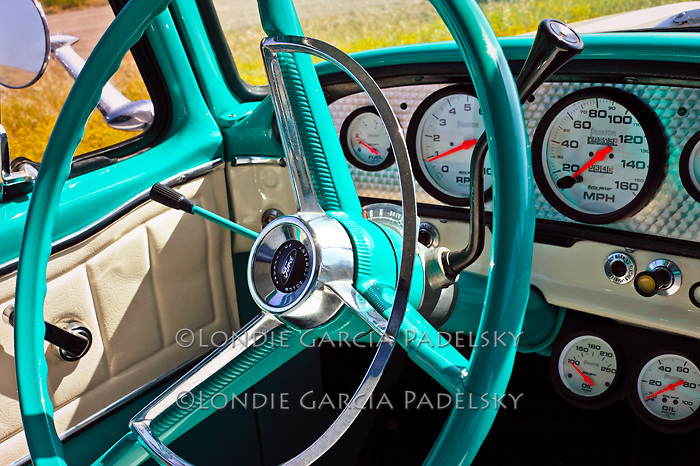 Turquoise steering wheel on the 1968 Ford Pickup Truck.