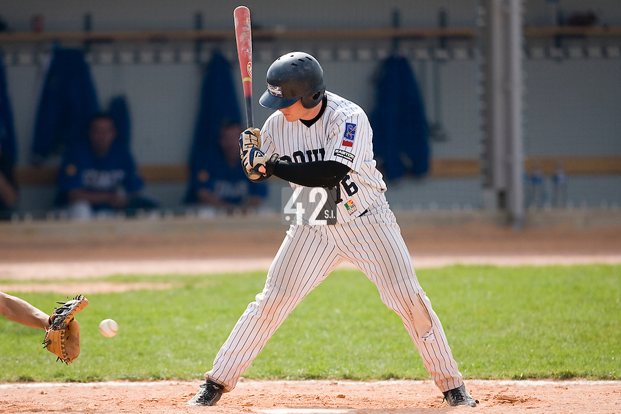 12 Aug 2007: David Gauthier is seen at bat during game 5 of the french championship finals between Templiers (Senart) and Huskies (Rouen) in Chartres, France. Huskies defeated Templiers 9-8 to win their fourth french championship.
