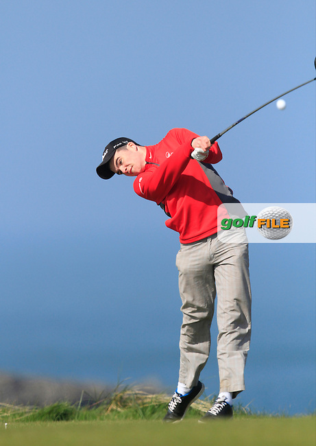 Greg O'Mahony (Lee Valley) during Round 1 of the 54 hole Stroke Play on April 10th  2015 for the 2015 Munster Youths' Open Championship, Tralee Golf Club, Tralee, Co.Kerry Ireland.<br /> Picture: Thos Caffrey / Golffile