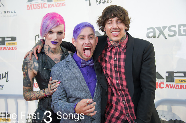Oli Sykes, Jeffree Star, and Tyler Carter attend the 2014 AP Music Awards at the Rock And Roll Hall Of Fame and Museum at North Coast Harbor in Cleveland, Ohio.