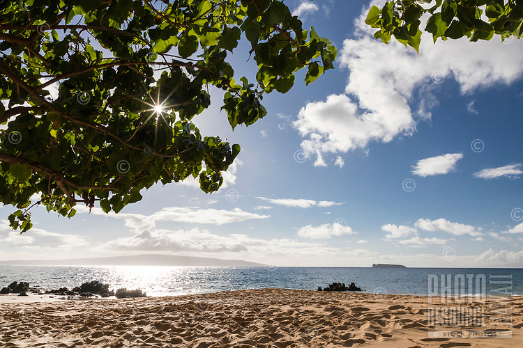 A view of Kaho'olawe and the smaller Molokini Islands, seen from under a shady tree at Makena Beach, Maui.