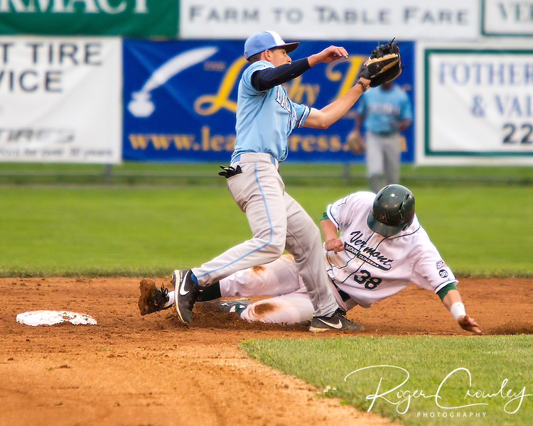 Mountaineer catcher Matt MacDowell (Dartmouth College) is tagged out by Laconia shortstop Tyler Campbell (Vanderbilt U)