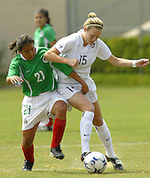MEXSPORT DIGITAL IMAGE.18 February 2004:  Action photo of Luz Saucedo of Mexico womens team,fighting for the ball with Megan Rapinoe of United States,during the friendly game at Mexico city,Mexico won 2-1. MEXSPORT/FRANCISCO VEGA/ISI