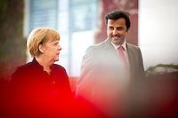 Bundeskanzlerin Angela Merkel (CDU) empf&auml;ngt am Mittwoch (17.09.14) in Berlin den Emir des Staates Katar, Scheich Tamim bin Hamad bin Khalifa al Thani mit milit&auml;rischen Ehren<br /> Foto: Axel Schmidt/CommonLens