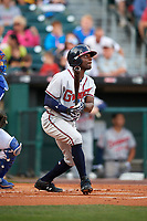 Gwinnett Braves center fielder Xavier Avery (7) at bat during a game against the Buffalo Bisons on August 19, 2017 at Coca-Cola Field in Buffalo, New York.  Gwinnett defeated Buffalo 1-0.  (Mike Janes/Four Seam Images)