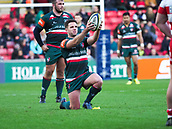 4th November 2017, Welford Road, Leicester, England; Anglo-Welsh Cup, Leicester Tigers versus Gloucester;  Captain Joe Ford prepares to kick his second penalty for Leicester Tigers in the 36th minute