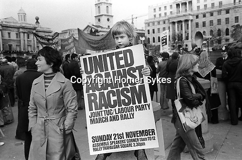 Traflagar Square rally demonstration against racism, organized by the Labour Party. London UK 1970s...