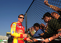 Sept. 27, 2008; Kansas City, KS, USA; NASCAR Nationwide Series driver Kasey Kahne during qualifying prior to the Kansas Lottery 300 at Kansas Speedway. Mandatory Credit: Mark J. Rebilas-