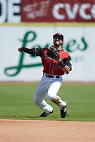 Hickory Crawdads second baseman Tyler Depreta-Johnson (2) makes a throw to first base against the Charleston RiverDogs at L.P. Frans Stadium on May 13, 2019 in Hickory, North Carolina. The Crawdads defeated the RiverDogs 7-5. (Brian Westerholt/Four Seam Images)