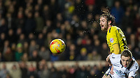 Danny Hylton of Oxford United watches the ball pass him by during the Johnstone's Paint Trophy Southern Final 2nd Leg match between Oxford United and Millwall at the Kassam Stadium, Oxford, England on 2 February 2016. Photo by Andy Rowland / PRiME Media Images.