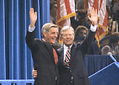 United States President Jimmy Carter, right, and US Vice President Walter Mondale, left, wave to the crowd after delivering their acceptance speeches at the 1980 Democratic National Convention in Madison Square Garden in New York, New York on August 13, 1980.<br /> Credit: Howard L. Sachs / CNP