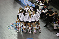 15 December 2007: Stanford Cardinal (not in order) Cynthia Barboza, Janet Okogbaa, Joanna Evans, Bryn Kehoe, Alex Fisher, Franci Girard, Cassidy Lichtman, Gabi Ailes, Alix Klineman, Jessica Fishburn, Erin Waller, Stephanie Browne, and Foluke Akinradewo during Stanford's 25-30, 26-30, 30-23, 30-19, 8-15 loss against the Penn State Nittany Lions in the 2007 NCAA Division I Women's Volleyball Final Four championship match at ARCO Arena in Sacramento, CA.